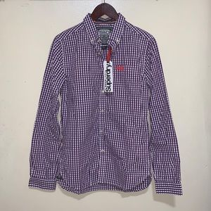 Superdry London Button Checkered Purple Gingham